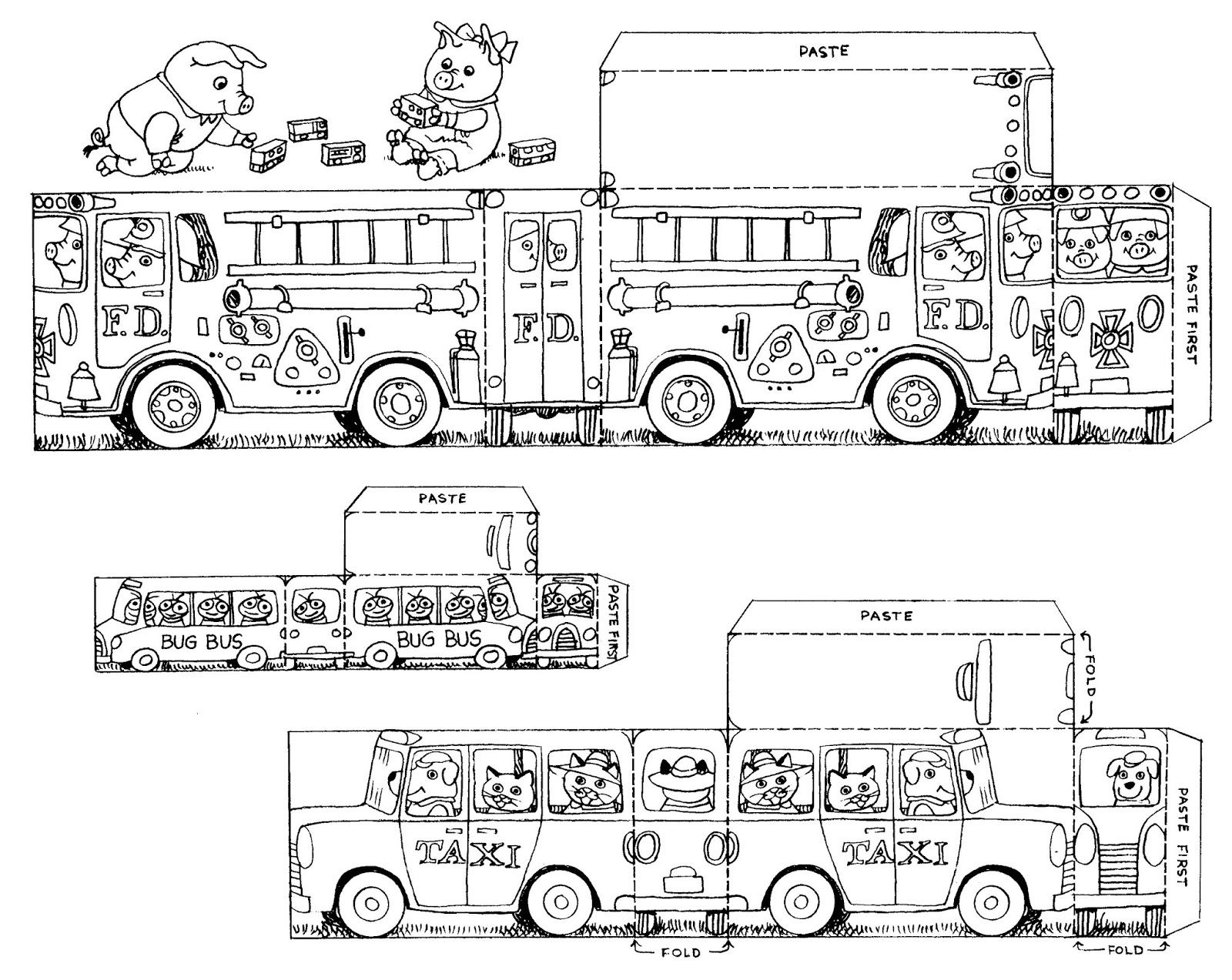 Cutout cars trucks u buses by richard scarry color cut out and