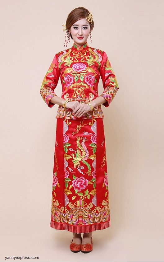 Embroider Dragon Phoenix Kwa Qun Chinese Wedding Gown Couture