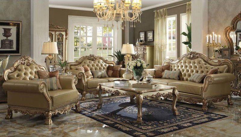 Formal Living Room Set And Dining Combo Dresden In Gold Elegant Furniture Sets
