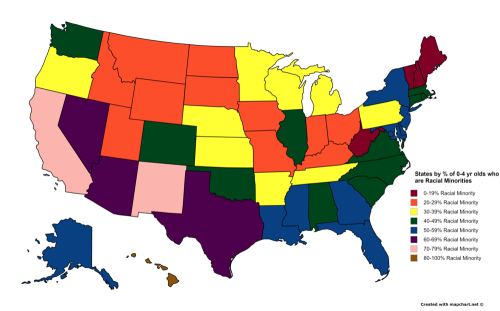 US States by of 04 year olds who are racial minorities 2015