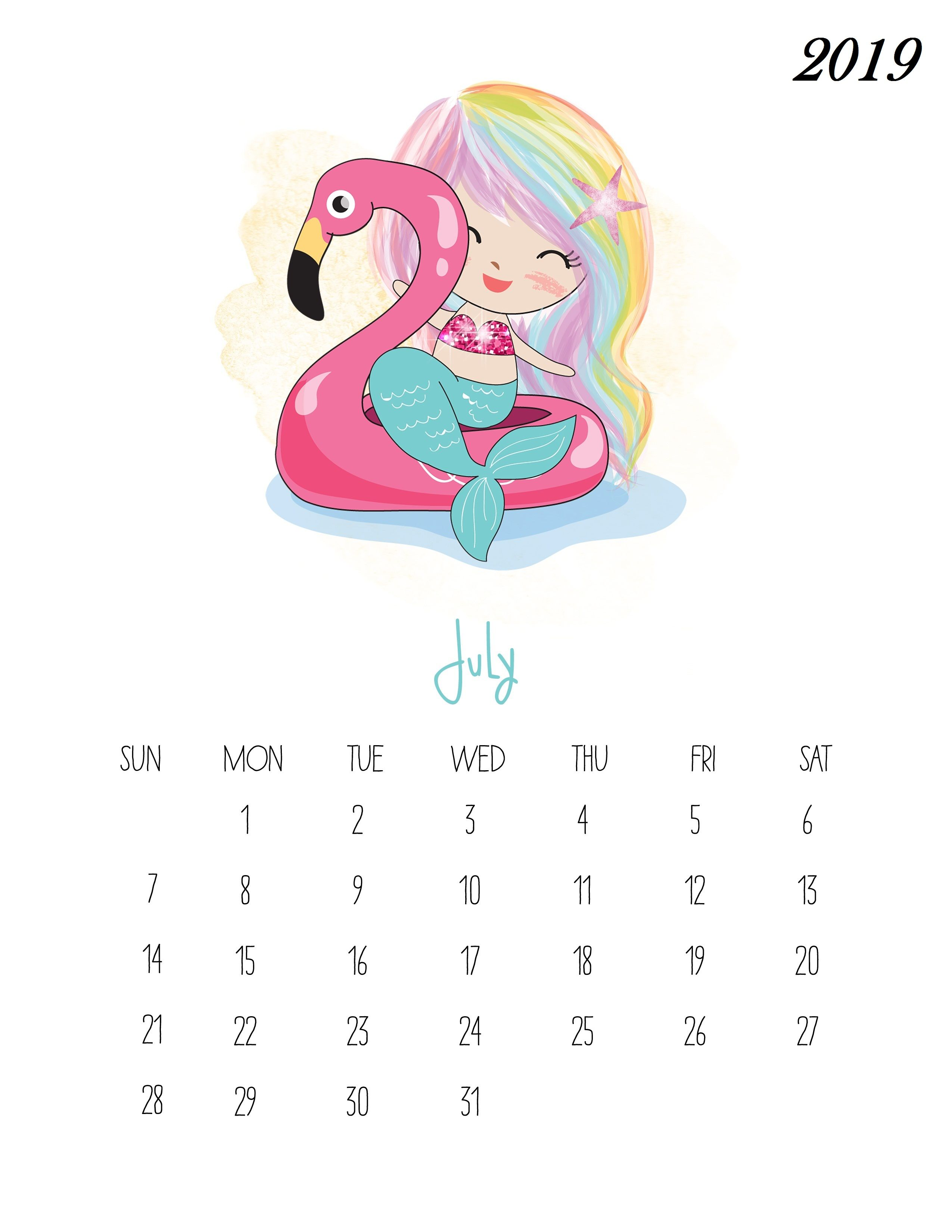 Kids Pocahontas Printable Calendar 2020 For February Free Printable July 2019 Kids Calendar | Calendar | Kids calendar