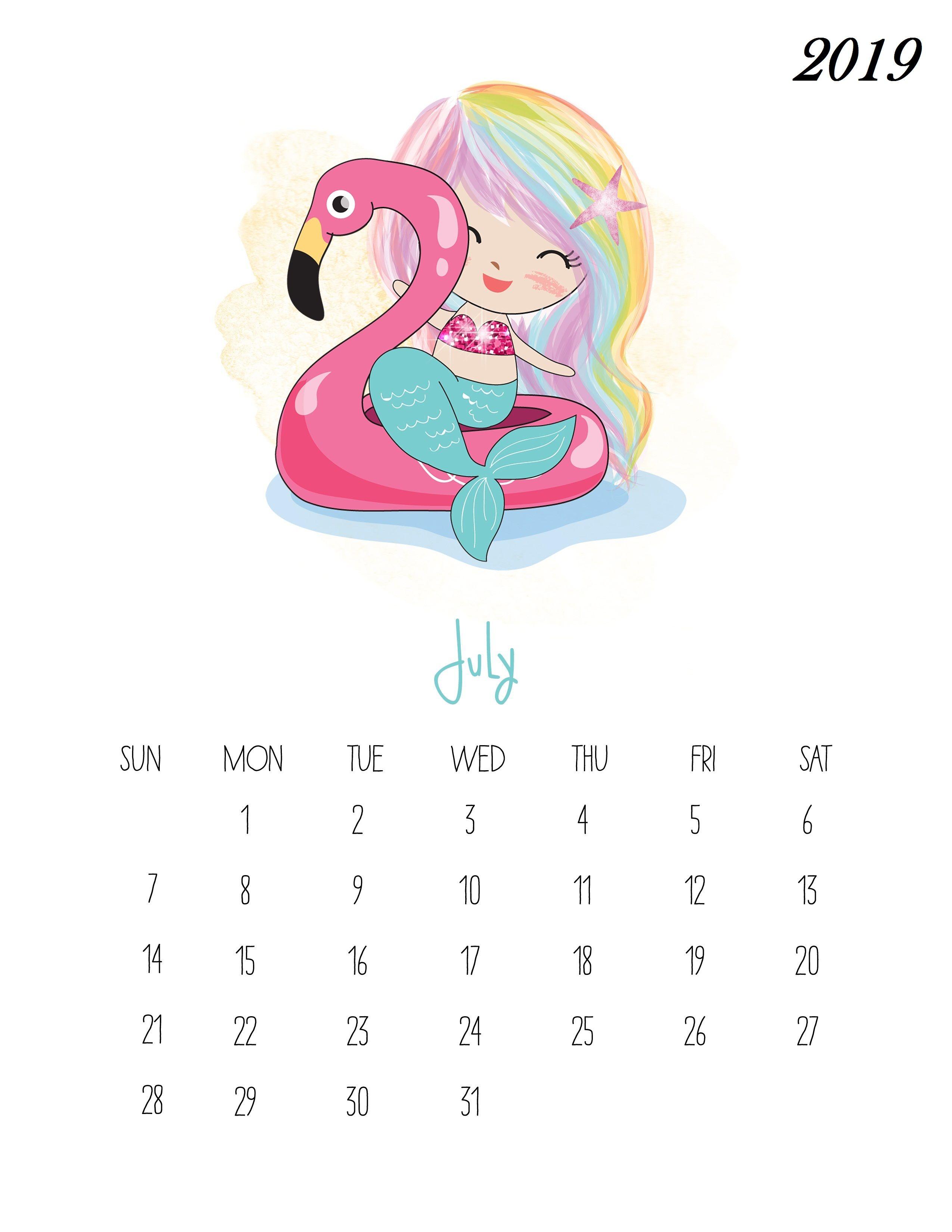 Printable Calendar 2019 Pocahontas Prinsess For February For Kids Free Printable July 2019 Kids Calendar | Calendar | Kids calendar