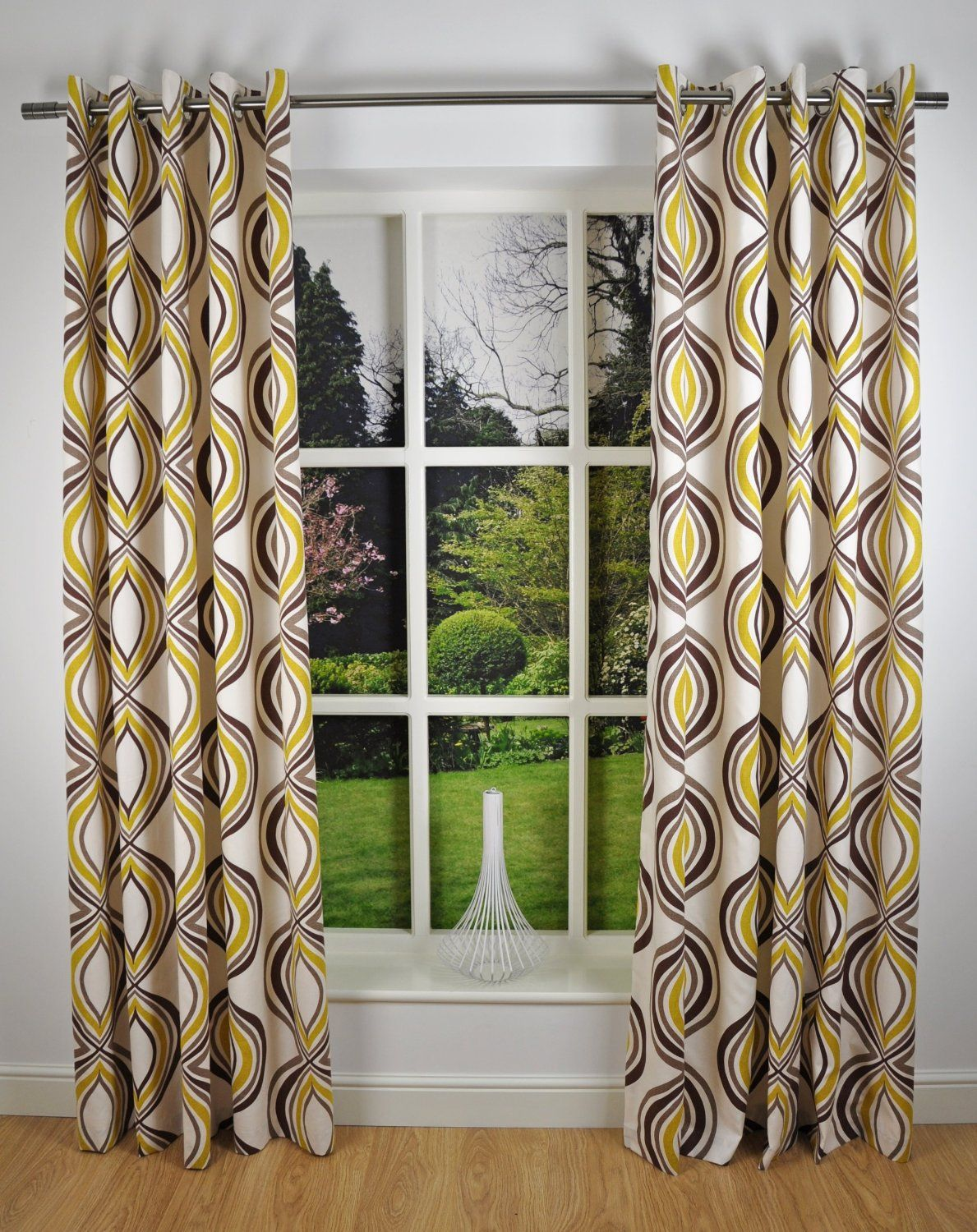 Retro modern geometric print readymade lined eyelet for Green modern curtains