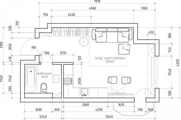 floor plan with dimension in meters. 6 Beautiful Home Designs Under 30 Square Meters  With Floor Plans