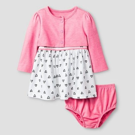 Target Baby Girl Clothes Interesting Baby Girls' 60 Piece Heart Print Dress Baby Cat Jack™ PinkWhite