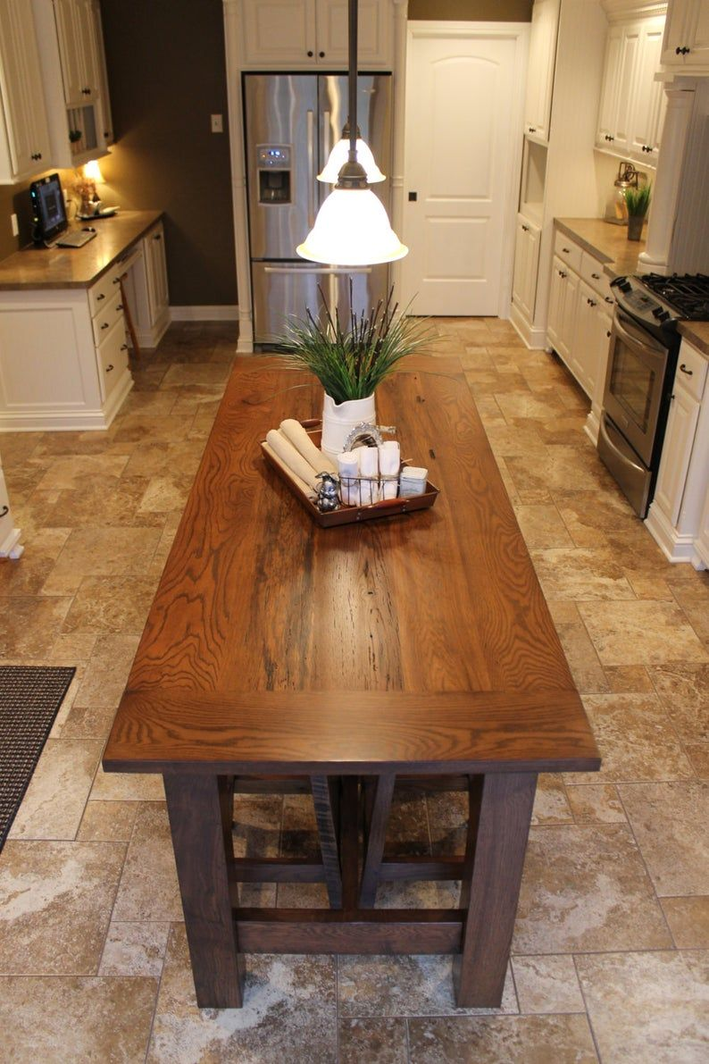 Rustic Farmhouse Bar/Island Table with 6 Barstools   Etsy ...