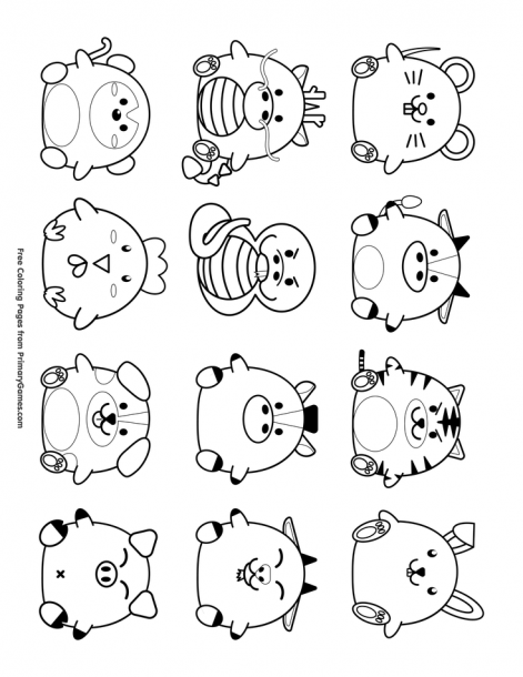 Chinese New Year Coloring Pages Ebook Cute Chinese Zodiac Symbols In 2020 Cute Animal Drawings Doodle Sketch Cat Icon