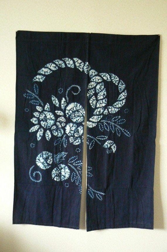 Vintage Noren Japanese Door Partitioning Curtainof Par