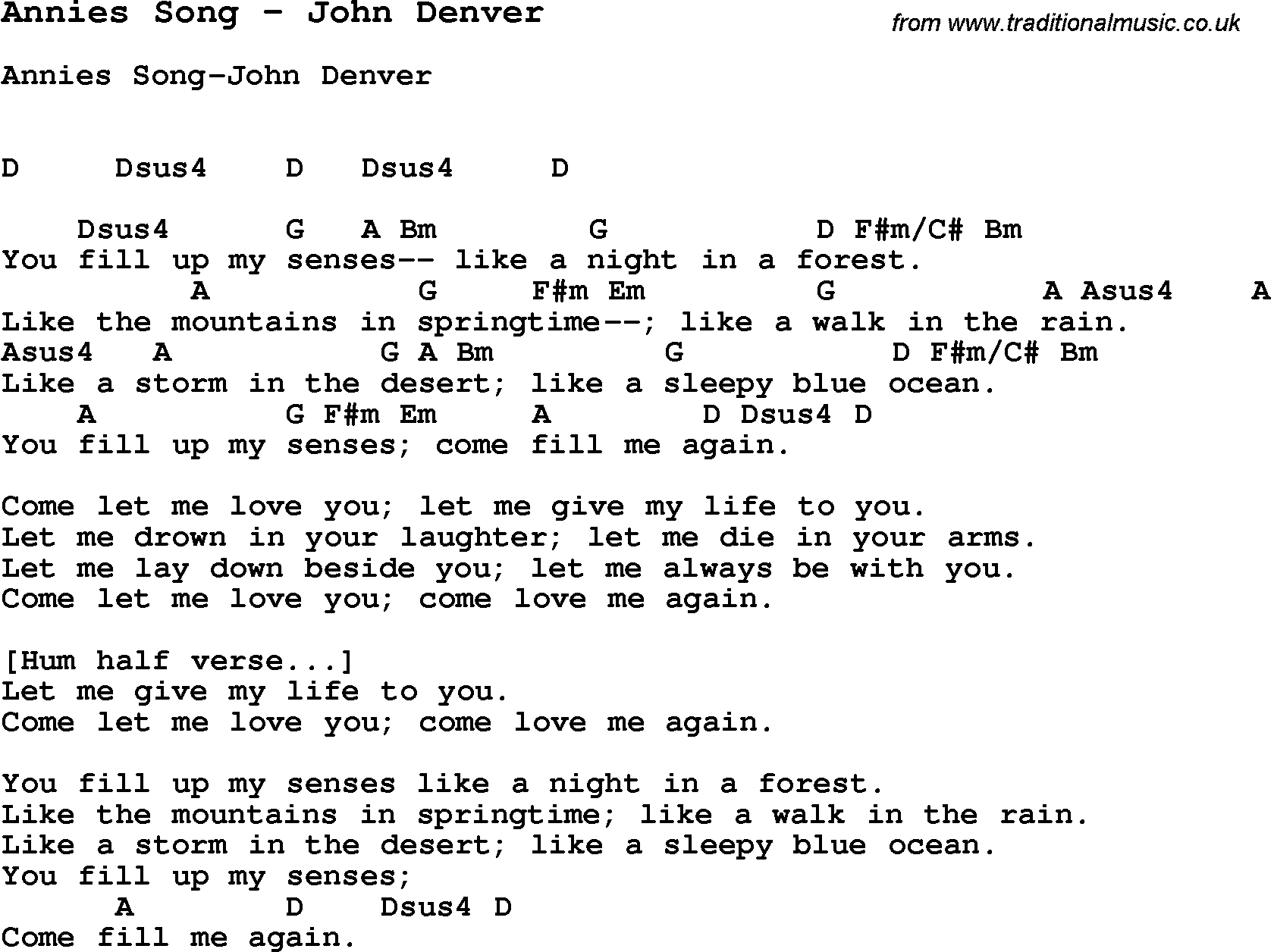 Song Annies Song By John Denver With Lyrics For Vocal Performance