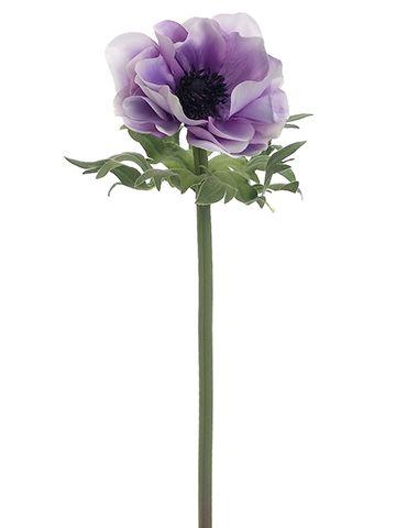 Anemone silk flower in amethyst purple cream with black center 17 anemone silk flower in amethyst purple cream with black center 17 tall mightylinksfo