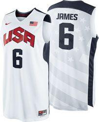 0af0b4dd5d8 LeBron James  6 2012 Olympics Replica Jersey  Nike Team USA Basketball  White Nike Replica