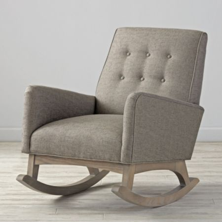 Everly Vintage Upholstered Rocking Chair In Action Stone Colors, Free  Swatches Available)