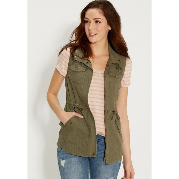 maurices Womens Olive Zip Front Anorak Vest