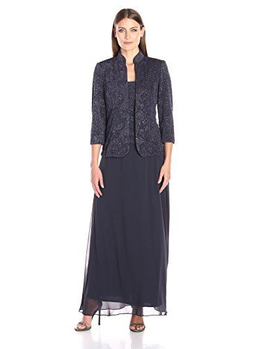 79e7c32c240 Alex Evenings Women s Jacquard Glitter Knit Long Dress and Mandarin-Neck  Jacket -- Check out this great product.