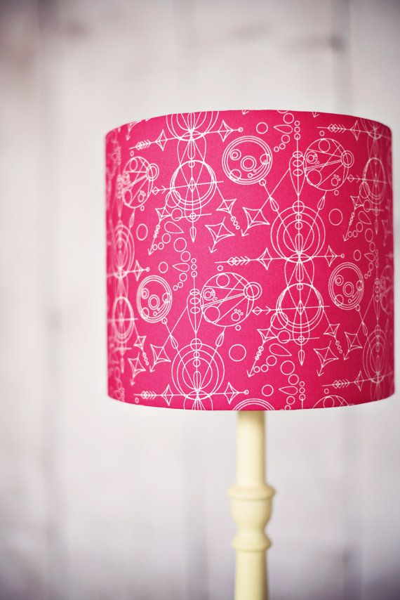 Hot Pink Lamp Geometric Lampshade By Shadowbrightlamps