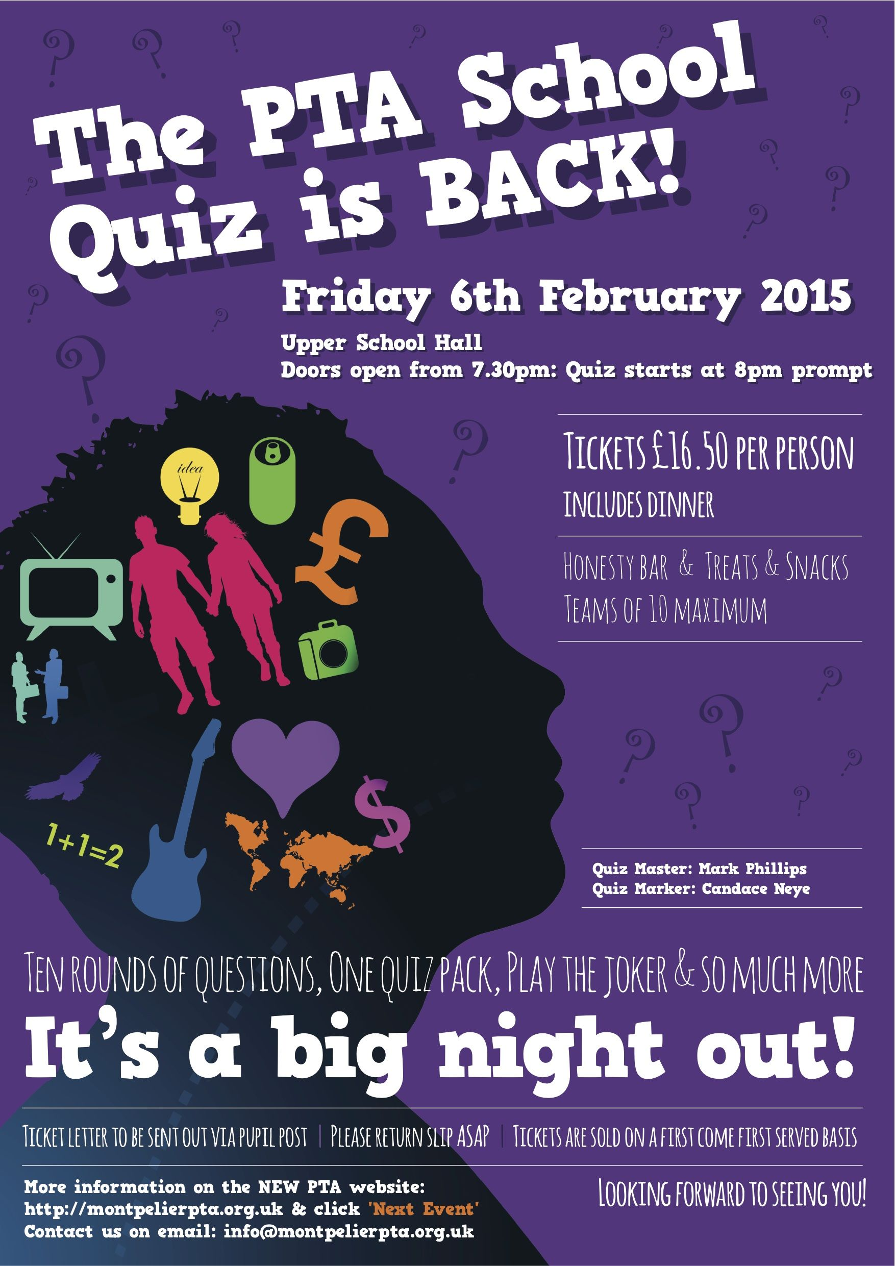 Poster design for quiz - Pta Quiz Night Poster Google Search