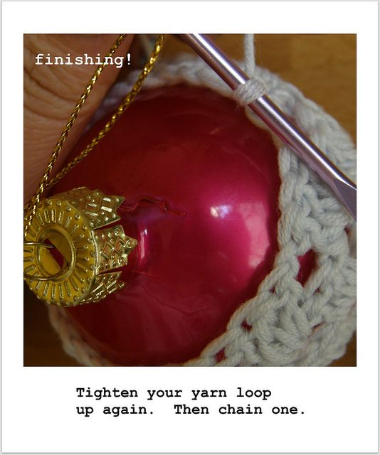 Embellish Christmas Ornaments with Crochet ~Pattern {Crocheted Baubles by meetmeatmikes, via Flickr}