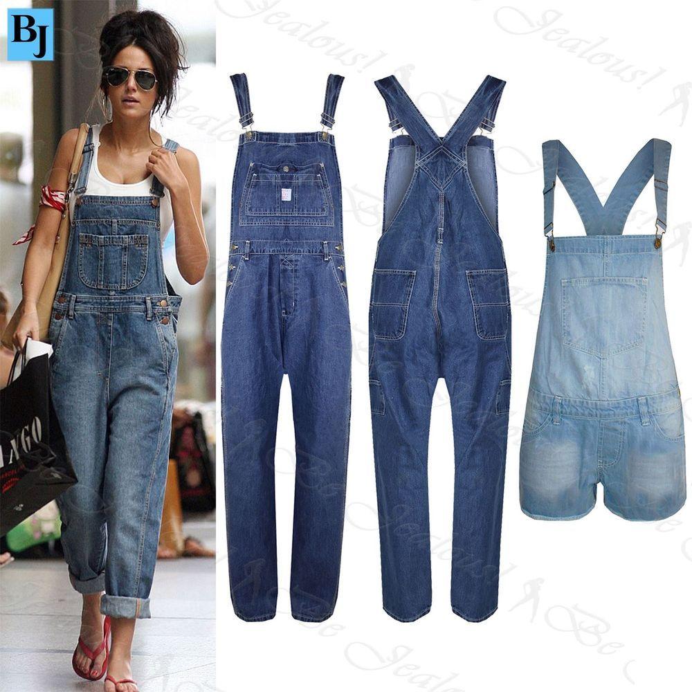 Womens Ladies Baggy Denim Jeans Full Length Pinafore Dungaree ...