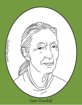 Coloring Pages Zip File. Jane Goodall Clip Art  Coloring Page or Mini Poster zip file contains 2