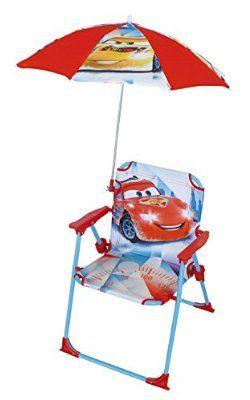 Fun House 712342 Cars Chaise Pliante Avec Parasol Pour Enfant Acier Bleu 38 X 8