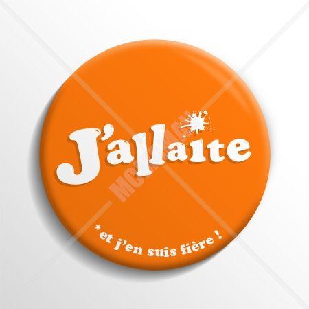 Badge d'allaitement J'allaite et j'en suis fière ! Orange McMaman