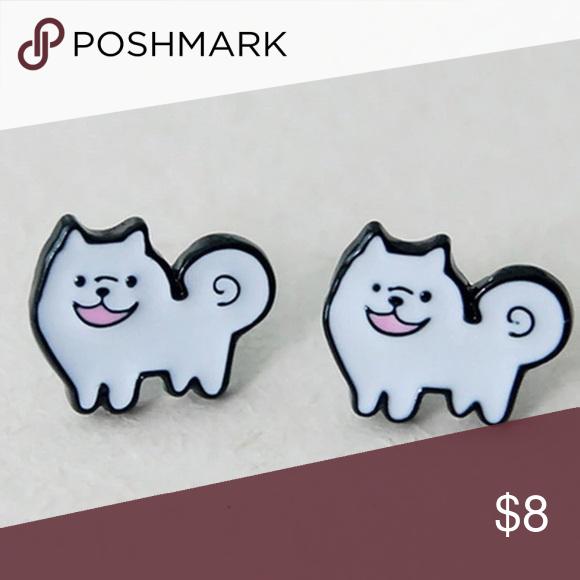 Cartoon Cute Pomeranian Earrings Adorable Stud Fun To Wear At Any