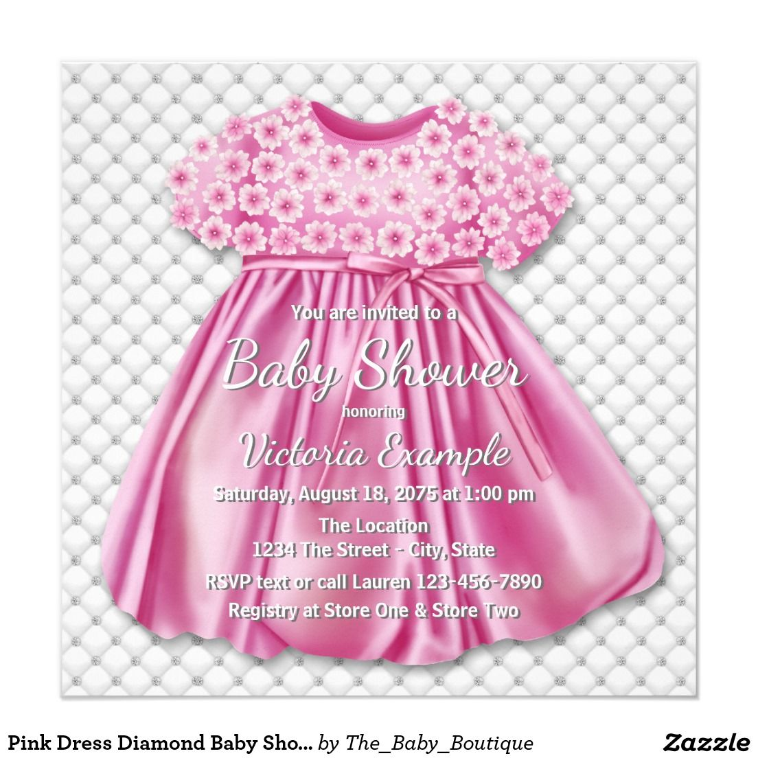 Pink dress in store  Pink Dress Diamond Baby Shower Card  Girl Baby Shower  Pinterest