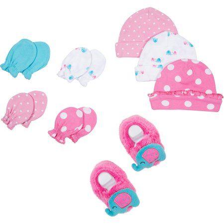0a0c30296 Gerber Newborn Baby Girl Cap, Mitten and Booties Accessory Set, 8 ...