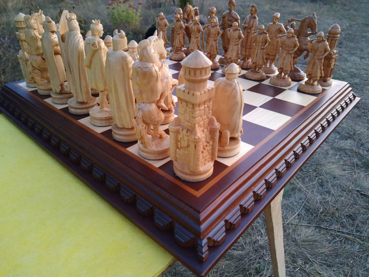 Wooden Chess Set Board Pieces Exclusive Handmade Big Large Etsy In 2020 Wooden Chess Set Chess Set Wooden Chess