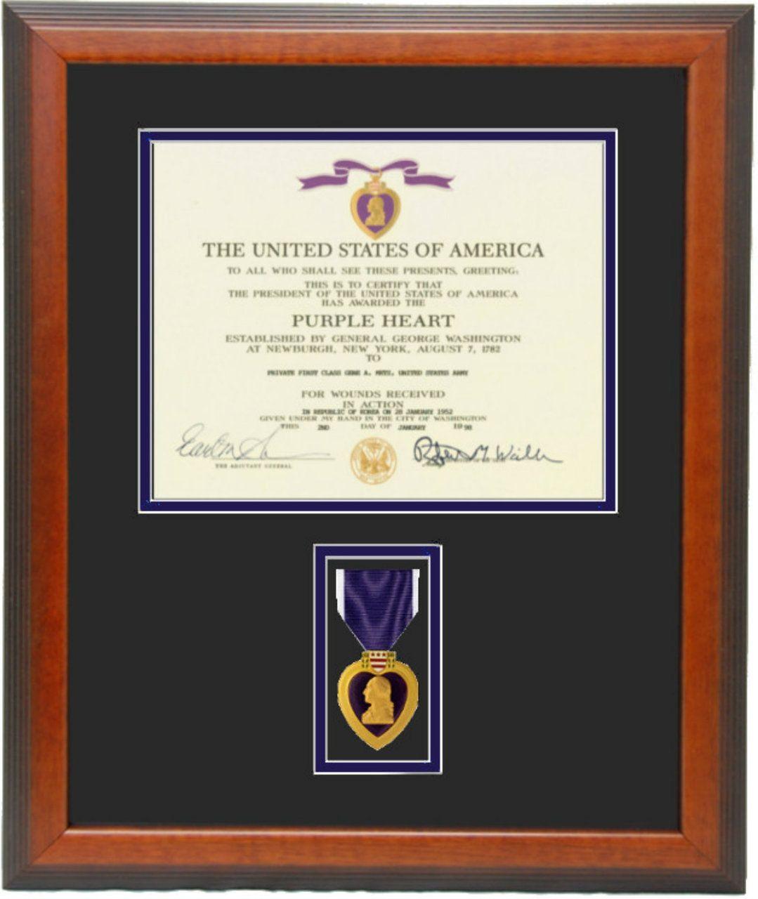 Purple Heart Certificate Frame Certificate Frames Custom Picture Frame Purple Heart
