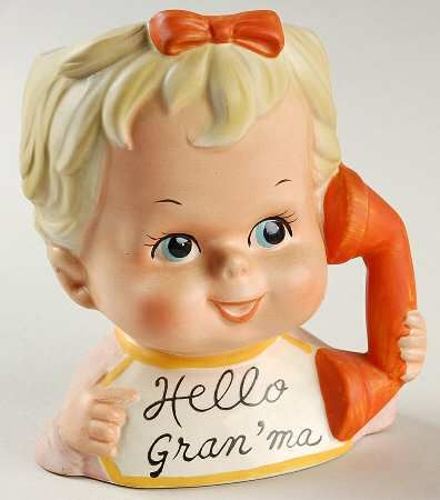 Inarco Japan Inarco Head Vases Baby Hello Granma Phone No Box