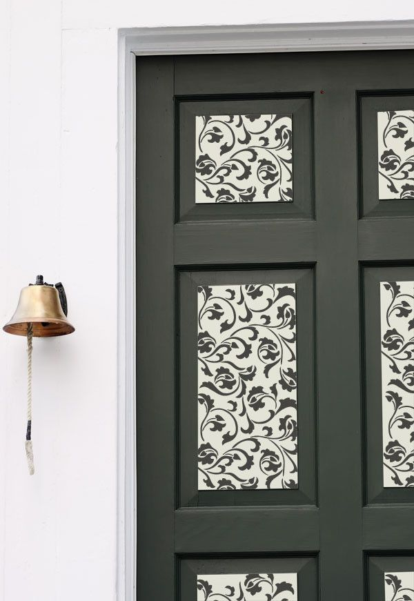 Furniture stencil on raised panel doors in black and white ...