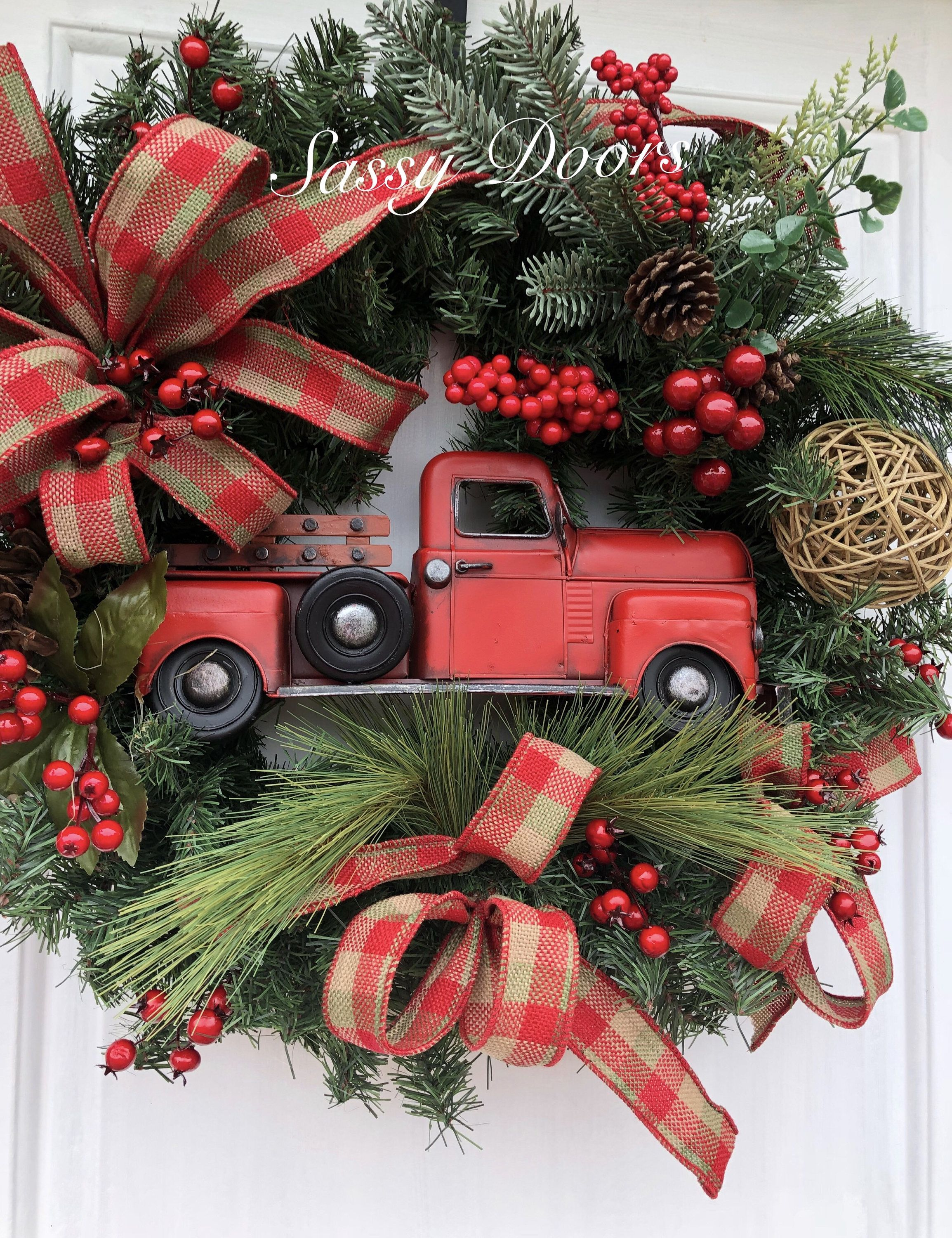 Red Truck Wreath Christmas Wreath Red Truck Christmas Wreath