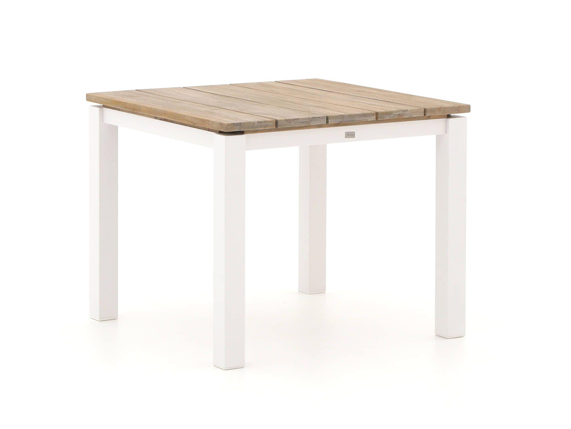 Quadratischer Esstisch aus Aluminium in der Farbe Weiß mit