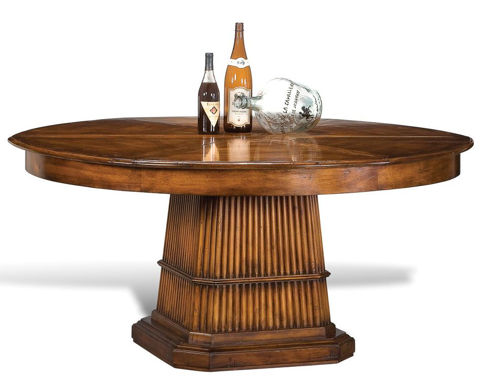 Dining Table Round Expands Jupe Cane Base British Colonial 84 64 Walnut New Dining Table Round Dining Table