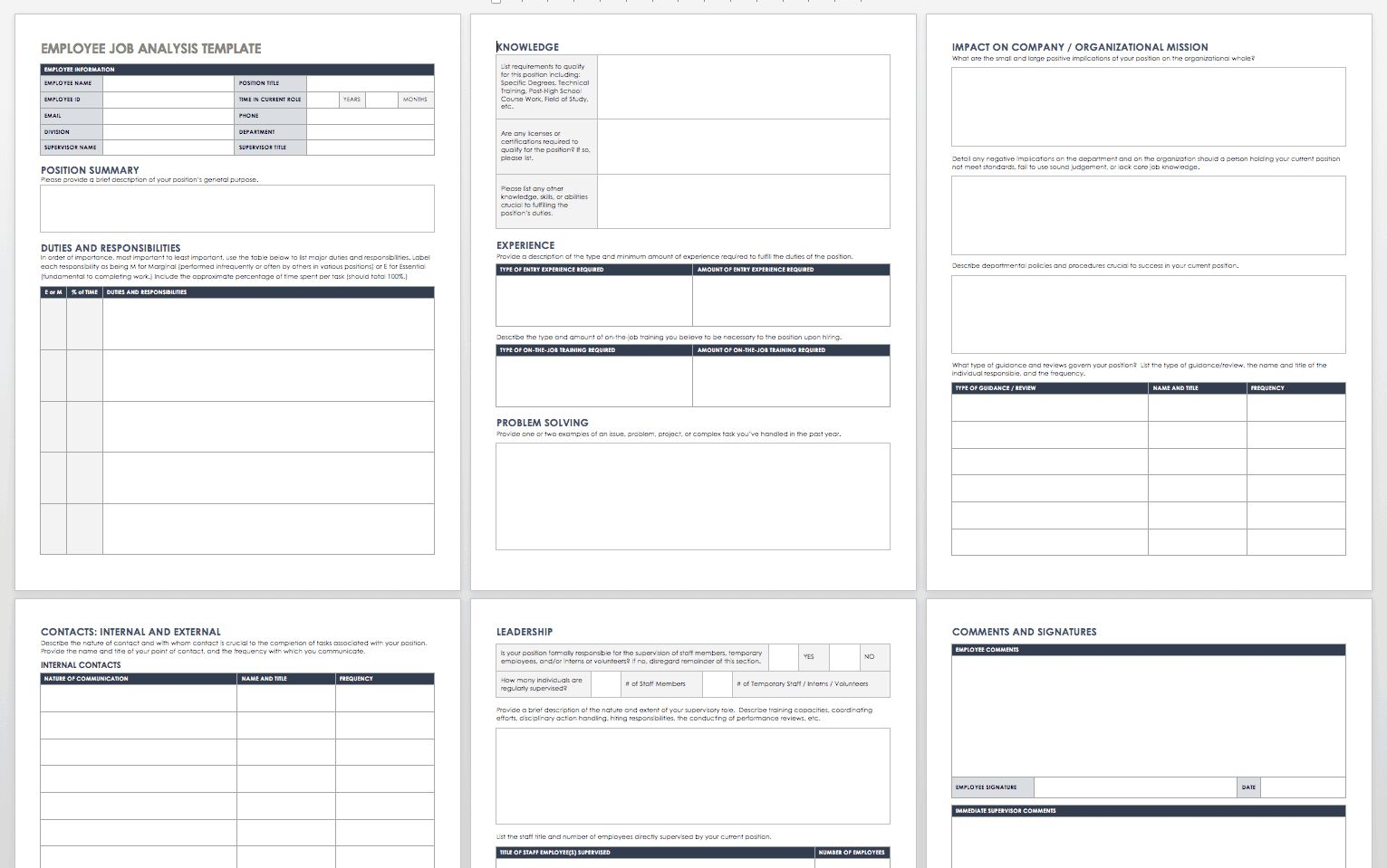 The Exciting Free Job Analysis Templates Smartsheet Inside Job