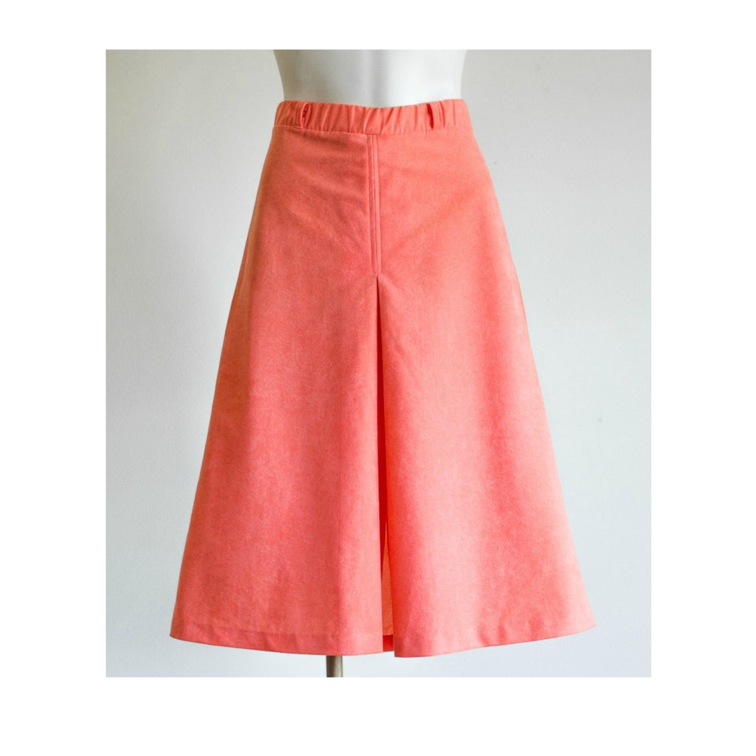 1970s coral a-line midi skirt by TimeTravelFashions on Etsy