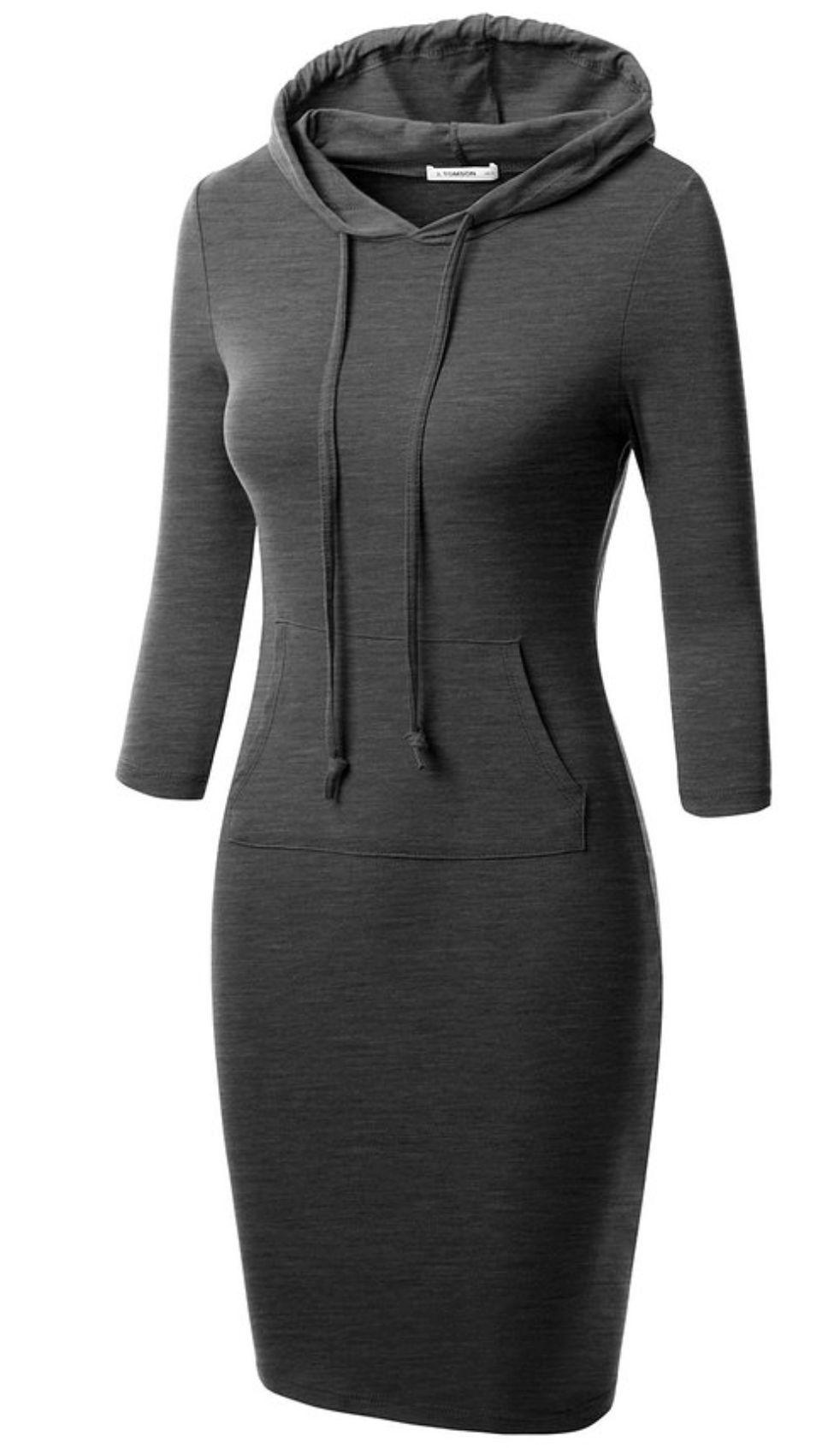 Women's Bodycon 3/4 Raglan Sleeve Hoodie Dress with Kangaroo Pockets
