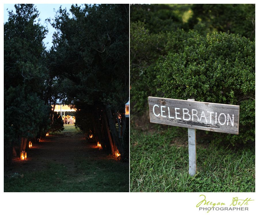 Entrance to the event lawn and reception barn. Path lite with candles. Rustic, waterside, country wedding. Woodlawn Estates in Southern Maryland.  89_megan_beth_fry_woodlawn_farms_wedding_2  http://woodlawn-farm.com/