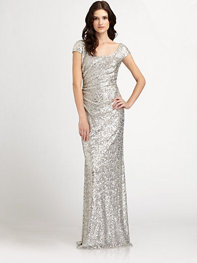 $655 - david meister - sequined gown - saks | non-white wedding