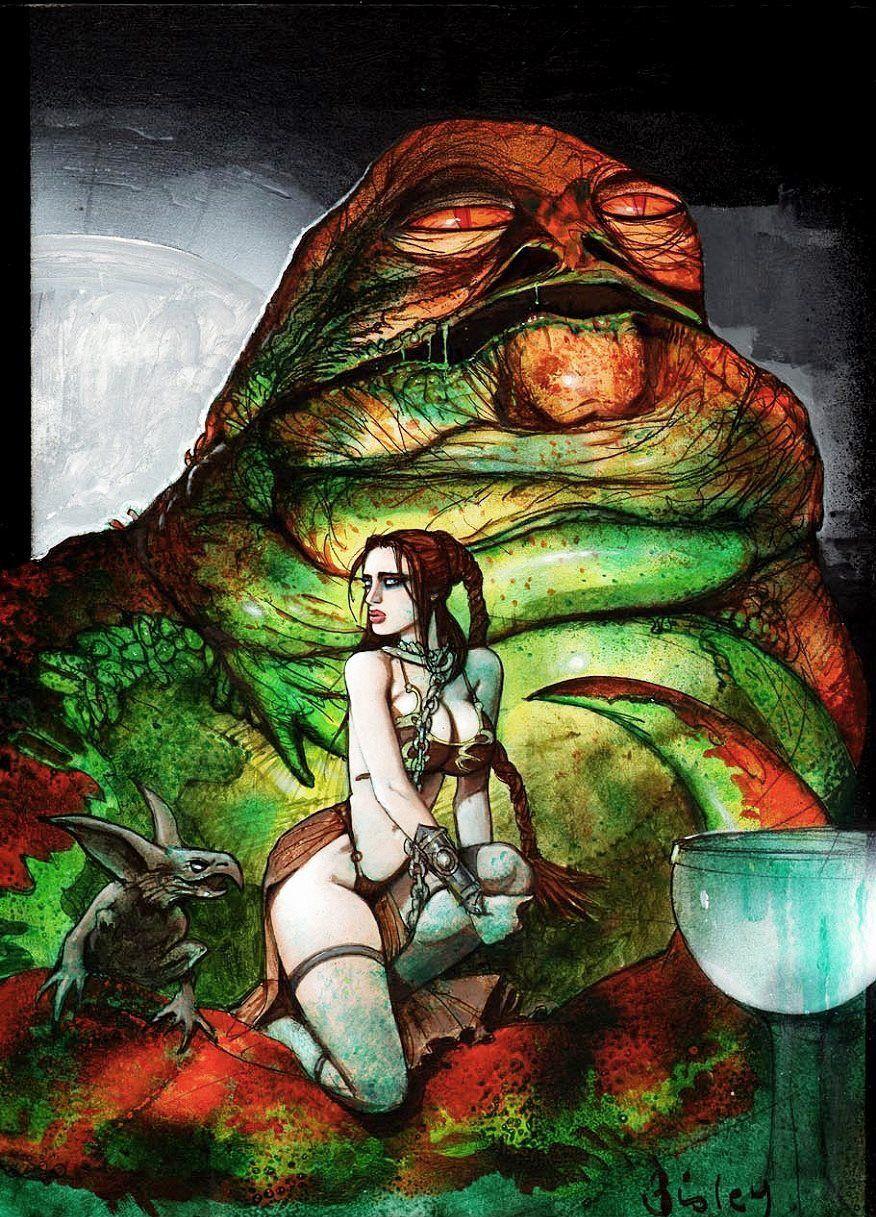 Slave Princess Leia and Jabba (Simon Bisley)