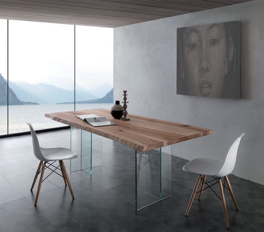 Table de salle à manger rectangulaire en bois et verre TREEVE, Table ...