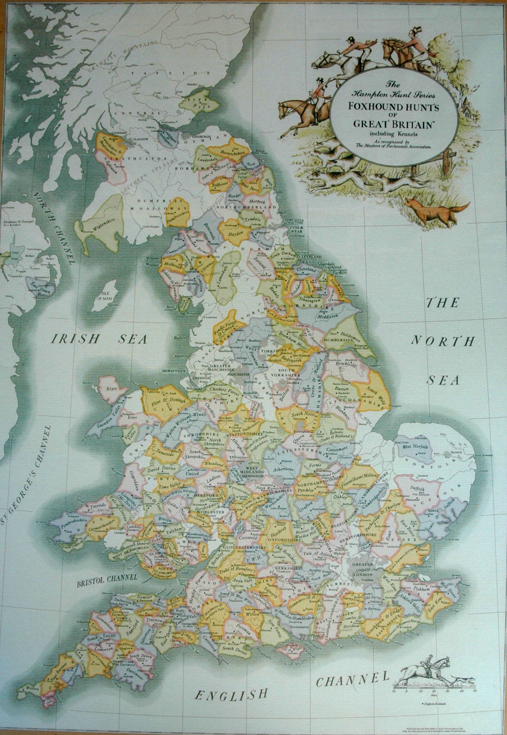Foxhound hunts of Great Britain map Foxhound