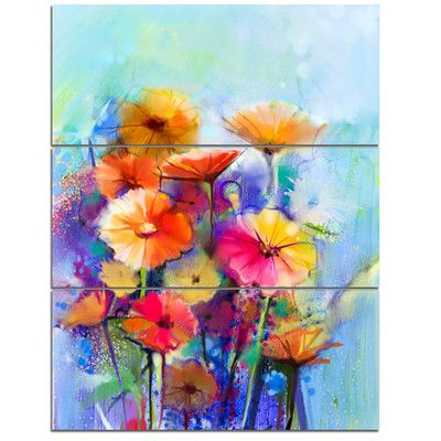 Design Art Abstract Floral Watercolor Painting 3 Piece Graphic