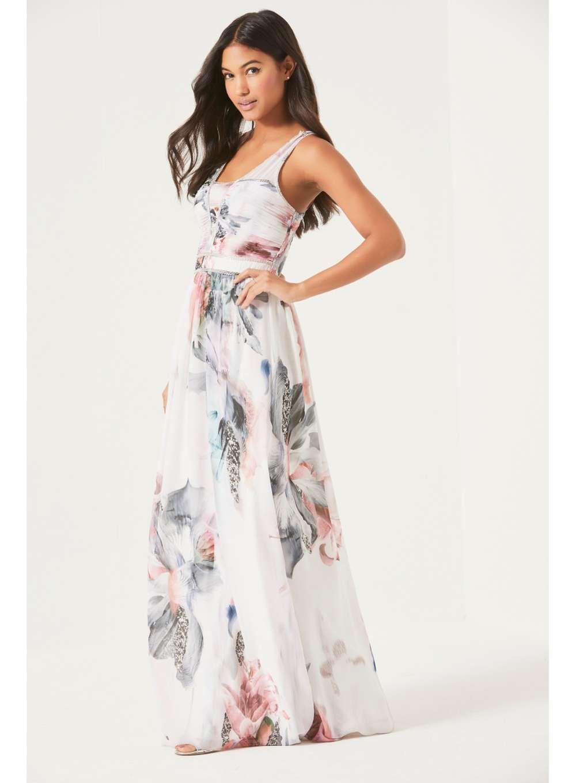 Little Mistress Cream Embellished Neck Floral Maxi Dress Floral Maxi Dress Dresses Maxi Dress