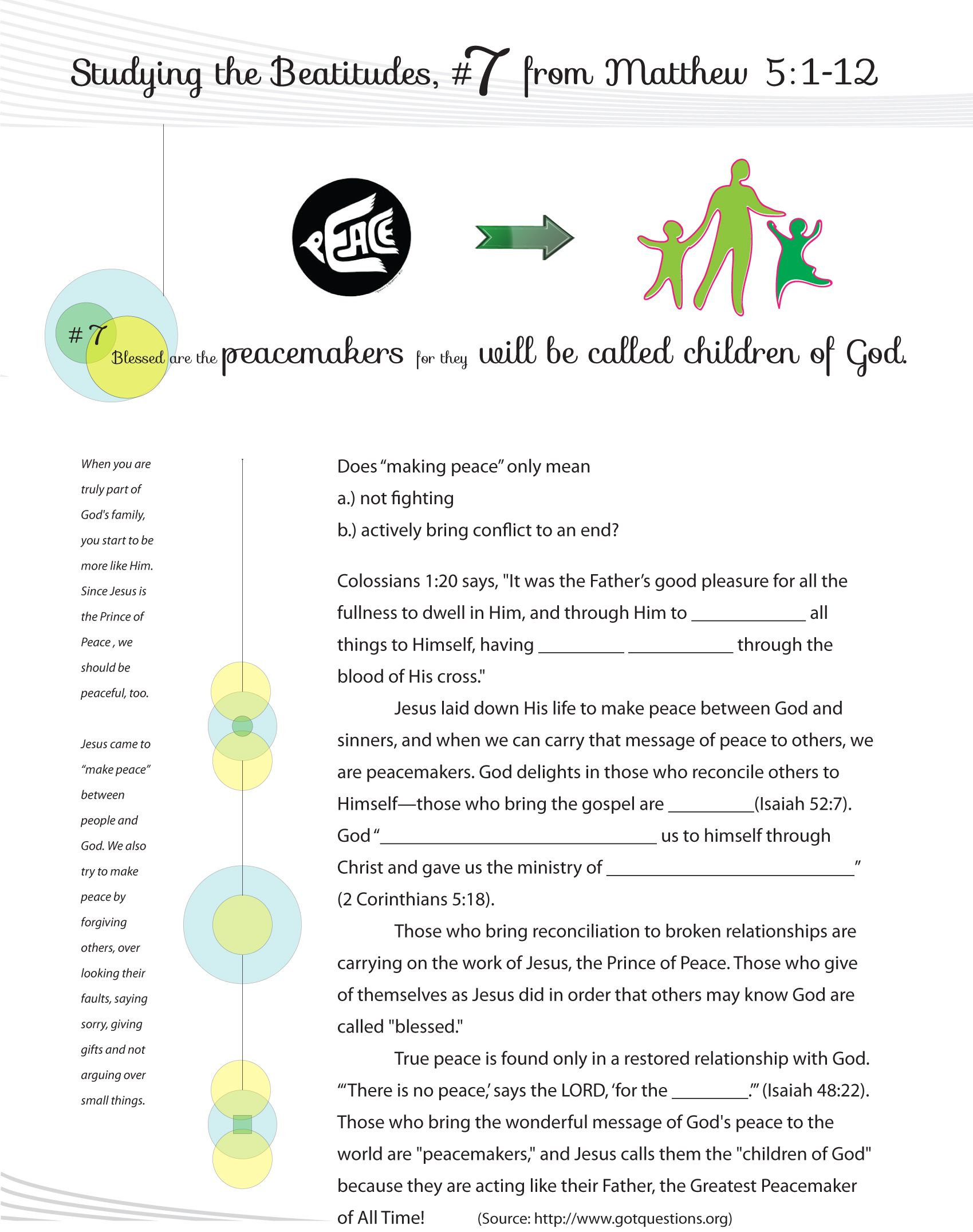 Worksheet To Teach The 7th Beatitude Of The Christian Life From Jesus Teaching His Famous Sermon On The Mo Beatitudes Sunday School Lessons Worksheets For Kids