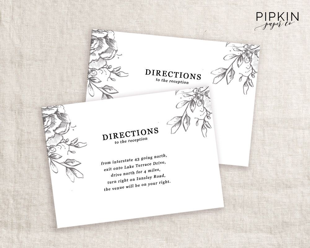 Wedding Directions Card Template Printable Invitation Digital For Word Fully Customizable