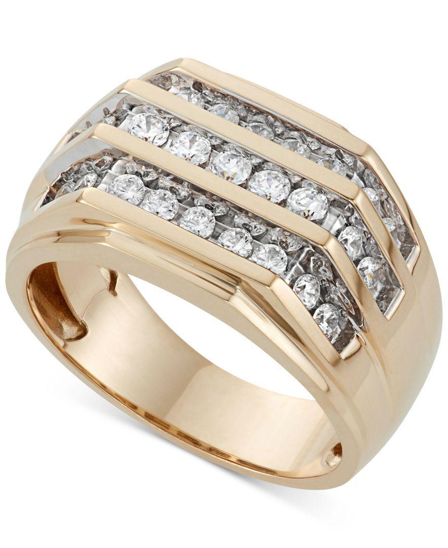 Men's Three Row Diamond Ring (1 ct. t.w.) in 10K Gold