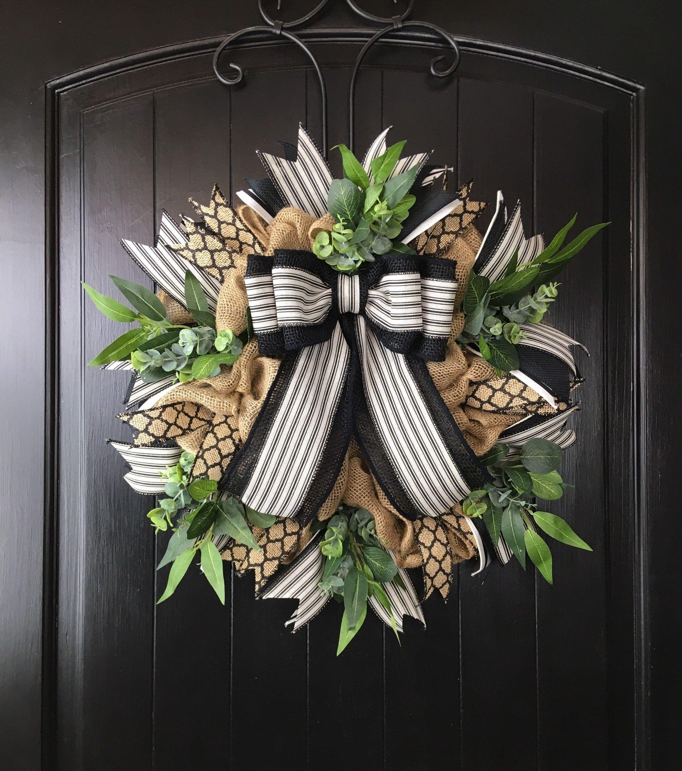 Photo of Peasant wreath, year-round wreath, rustic decor, black stripe, burlap wreaths, primitive wreaths, farmhouse decor, rustic farmhouse decor
