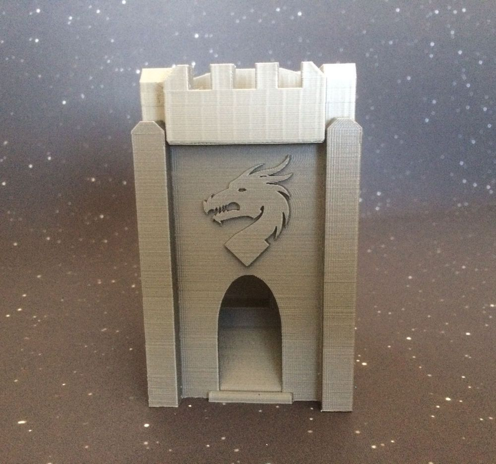 Dice Tower Dragon Castle with Top Dice Holder 3D Printed (Silver/Gray) Games #HomeMade